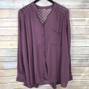 Free People Button Front Mesh Back Blouse
